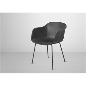 Image of   Muuto - Fiber Armchair Tube Base (Black/black)