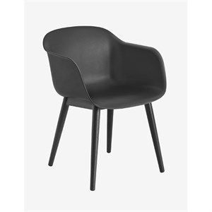 Image of   Muuto - Fiber chair (sort sæde/ben i sorttræ)