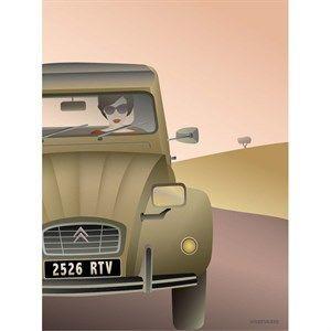 VISSEVASSE - 2CV Citroën plakat - 70x100 cm