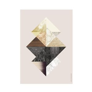 Ferm Living - grafisk billede/wooden illustration - Triangle Fushion
