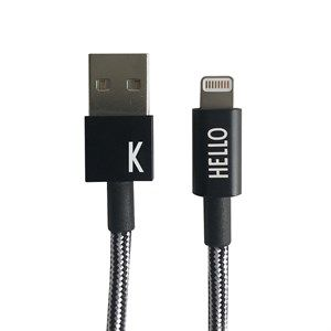"Image of   Design Letters - IPhone oplader kabel - ""K"" - Sort/Hvid"