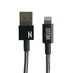 "Image of   Design Letters - IPhone oplader kabel - ""N"" - Sort/Hvid"