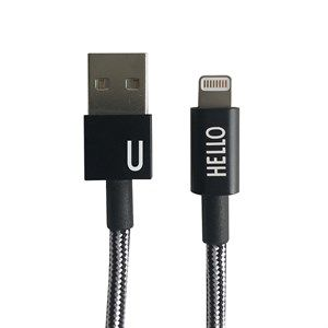 "Image of   Design Letters - IPhone oplader kabel - ""U"" - Sort/Hvid"