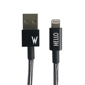 "Image of   Design Letters - IPhone oplader kabel - ""W"" - Sort/Hvid"