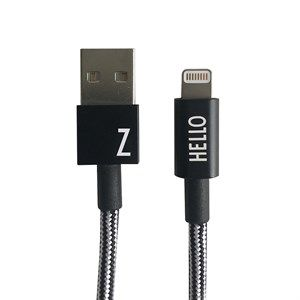 "Image of   Design Letters - IPhone oplader kabel - ""Z"" - Sort/Hvid"