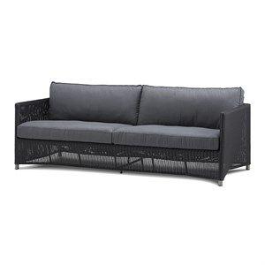 Image of   Cane-line - Diamond 3 pers. sofa inkl. grå Sunbrella hyndesæt