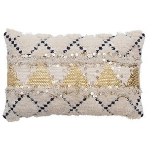 Image of   Au Maison pude - African Deluxe cushion i sort/hvid/guld