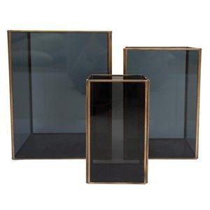 Image of   Au Maison - lanterne sæt (3 stk.) -smoked glass/brass