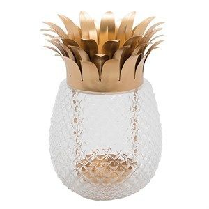 Image of   Au Maison - Lanterne formet som ananas - Guld/glas