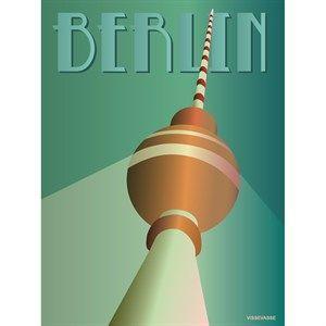 Image of   VISSEVASSE plakat - Berlin Fjernsyntårnet - 30x40