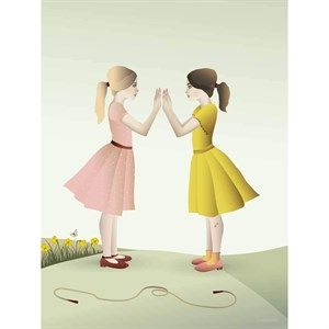 Image of   VISSEVASSE - Plakat - Hand-Clapping Girls - 30x40 cm