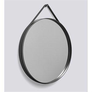 "Image of   HAY - ""Strap Mirror"" Spejl Ø70cm - Anthracite"