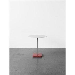 Image of   HAY bord - Terrazzo cafébord rund - Rød base/lysegrå top