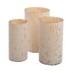 Image of   Au Maison - Vase - Manhattan - Hvid/Honey (Sæt med 3 stk.)