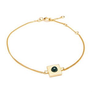 Image of   Louise Kragh - Armbånd - Minisquare - guld/dark green
