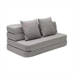 Image of   By KlipKlap - KK 3 Fold sofa 120 cm - Grå med grå knapper