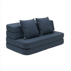 Image of   By KlipKlap - KK 3 Fold sofa XL 140 cm - Mørkeblå med sorte knapper