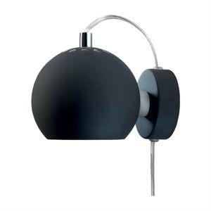 Image of   Ball væglampe - mat sort m. transparent ledning