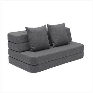 Image of   By KlipKlap - KK 3 Fold sofa XL 140 cm - Blågrå med grå knapper