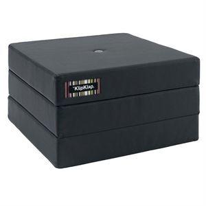 Image of   by KlipKlap 3 fold single madras dark grey (kunstlæder) m. blågrå knap