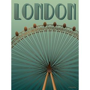 Image of   VISSEVASSE plakat - London Eye - 15x21