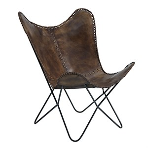 Image of   Fuhrhome - Flagermus stol / lænestol - Patina Brown