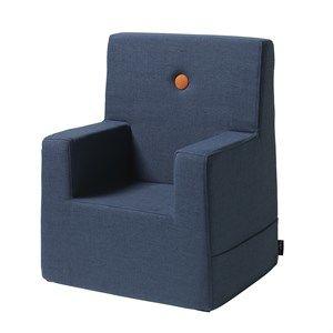 Image of   By KlipKlap børnestol - KK Kids chair XL - Mørkeblå med orange knapper