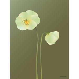 Image of   VISSEVASSE - Stedmoderblomst plakat, forrest green/grøn - 50x70 cm